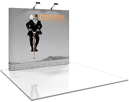 8 Ft. (3 x 3 Quad) Straight Coyote Pop Up Display With Full Graphics