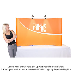 8 Ft. (3 x 2) Full Fabric Coyote Mini Table Top Pop Up Display - Curved - Fully Assembled And Ready For The Show!