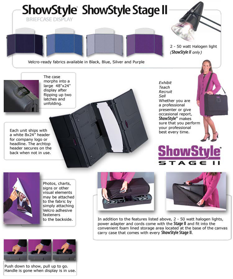 Showstyle Stage II Briefcase Table Top Display Design Features