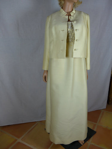Designer Unknown, 1970s cream-colored evening gown