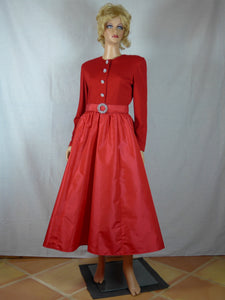 Victor Costa 1980s red evening gown