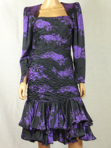 Emanuel Ungaro 1980s purple and black cocktail dress.