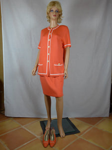 St. John 1980s two-piece orange knit suit w/ shoes.