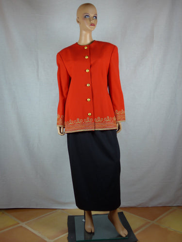 Ellen Tracy 1990s wool red jacket and black skirt