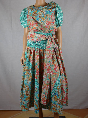 Diane Freis 1980s cotton print dress.