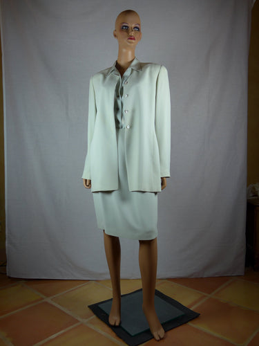 Ellen Tracy 1990s light blue grey silk skirt suit and blouse.