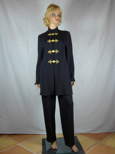 St. John 1980 black knitted wool zippered jacket and pants