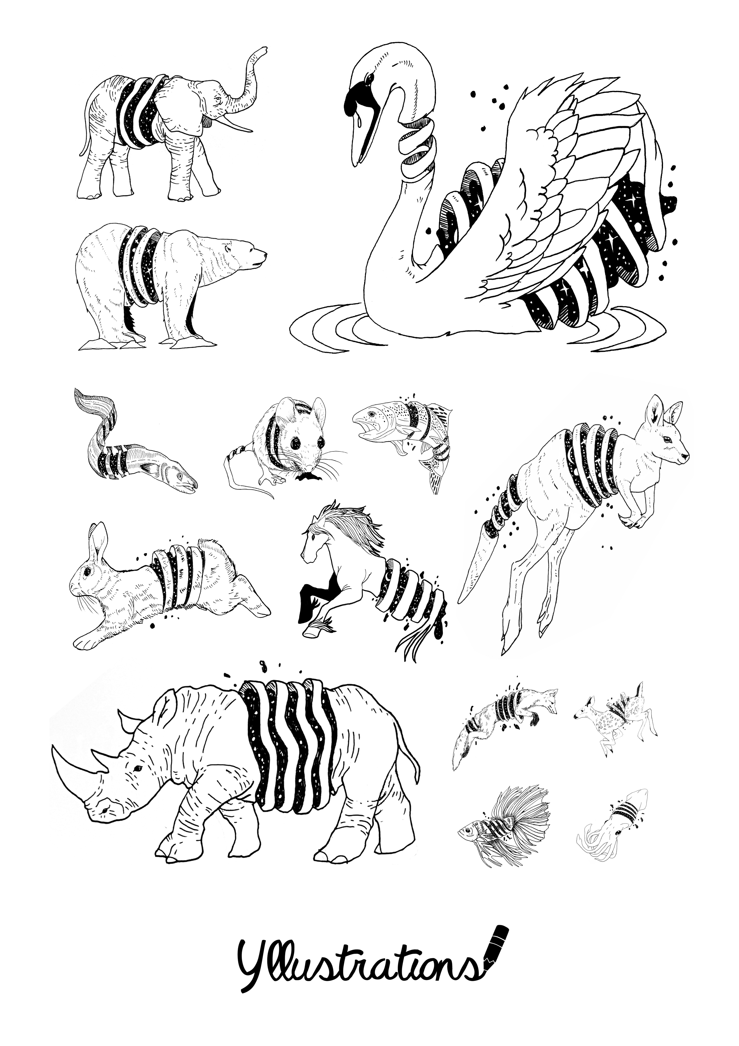 Unraveling Animals Coloring E Book