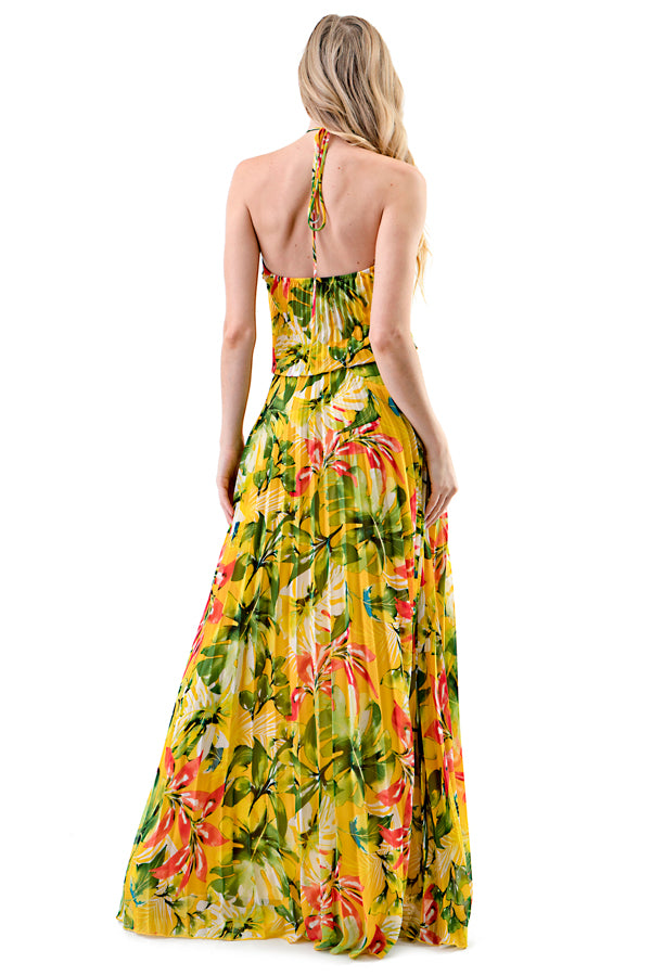 D719 Yellow Floral Print