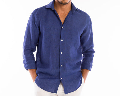 <b>Linen Shirt</b><br> Navy Blue - QVINTO