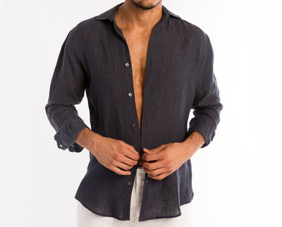 <b>Linen Shirt</b><br> Black - QVINTO
