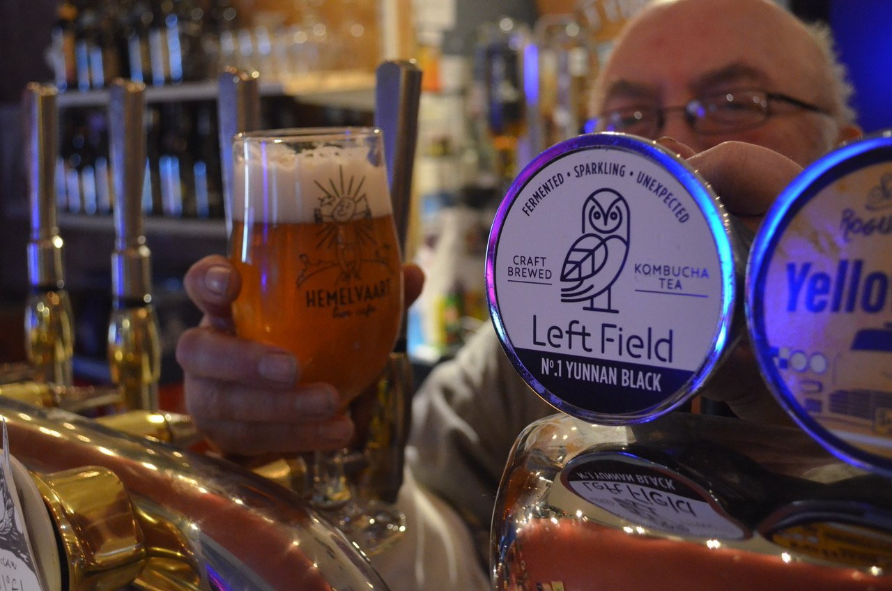 Left Field Kombucha on tap in Hemelvvart Bier Cafe