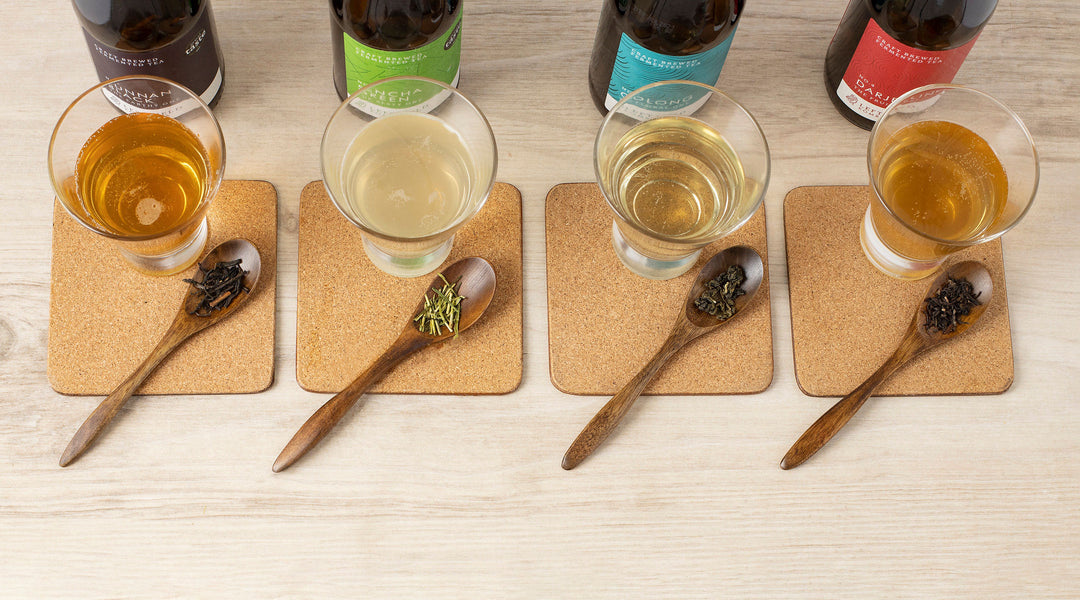 Kombucha Taster Pack by Left Field Kombucha with teas in glass