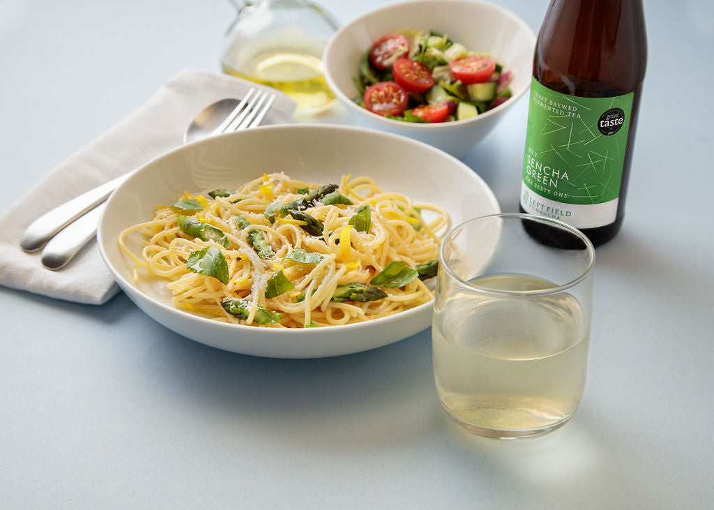 Sencha Green kombucha matched with pasta lunch dish