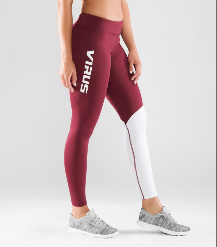 WOMEN'S STAY COOL V2 COMPRESSION PANT (ECO21) - MAROON / WHITE