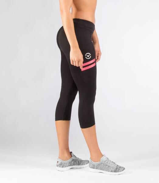 WOMEN'S STAY COOL COMPRESSION PANTS POWER CROP (ECO24) BLACK/CORAL