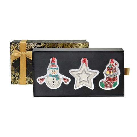 Tipperary Crystal Black Box of 3 Decorations