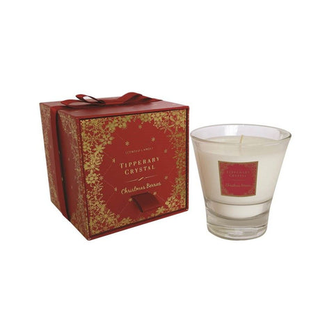Tipperary Crystal Christmas Berries Candle