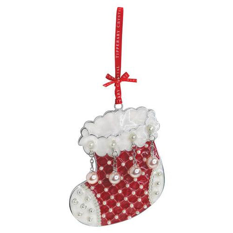 Tipperary Crystal Stocking Christmas Decoration