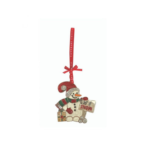 Tipperary Crystal Snowman Hanging Decoration