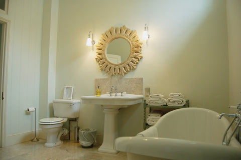 Pynes House Traditional Bathroom with Close Coupled Toilet, Full Pedestal Basin and Freestanding Bath