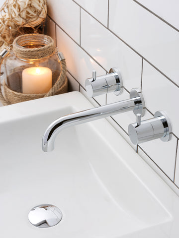 JTP Florence 3 Hole Wall Mounted Basin Mixer Tap