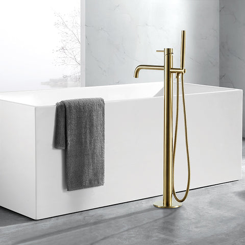 JTP Vos Brushed Brass Floor Mounted Bath Shower Mixer Tap