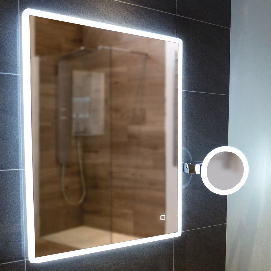 HiB Vega 60 LED Mirror With Charging Socket 80 x 60cm -