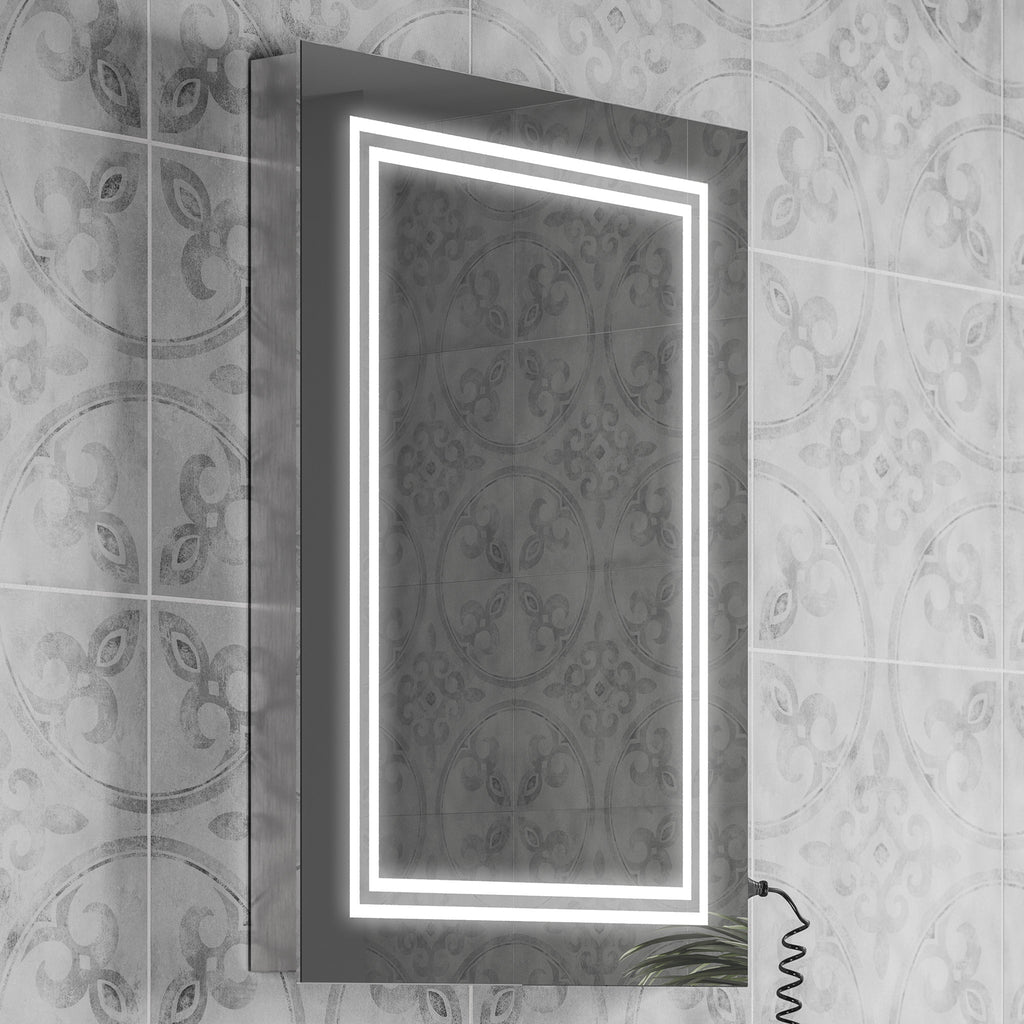 HiB Boundary 60 LED Mirror With Charging Socket 80 x 60cm -