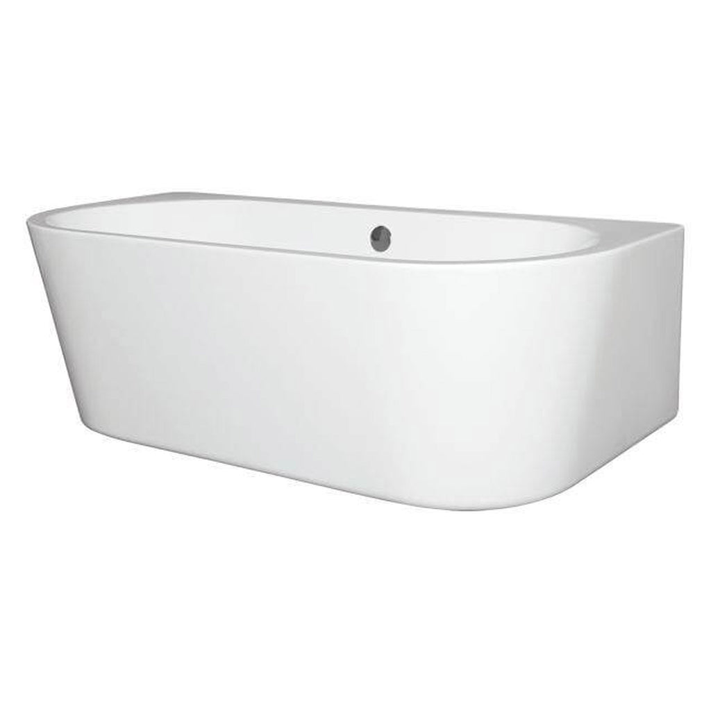 BC Designs Ancora D-Shaped Back To Wall Double Ended Bath 1640 x 760mm -