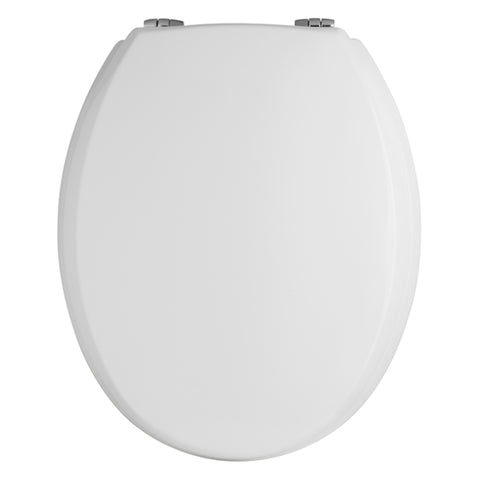 Bayswater White Wooden Toilet Seat - Chrome Hinges