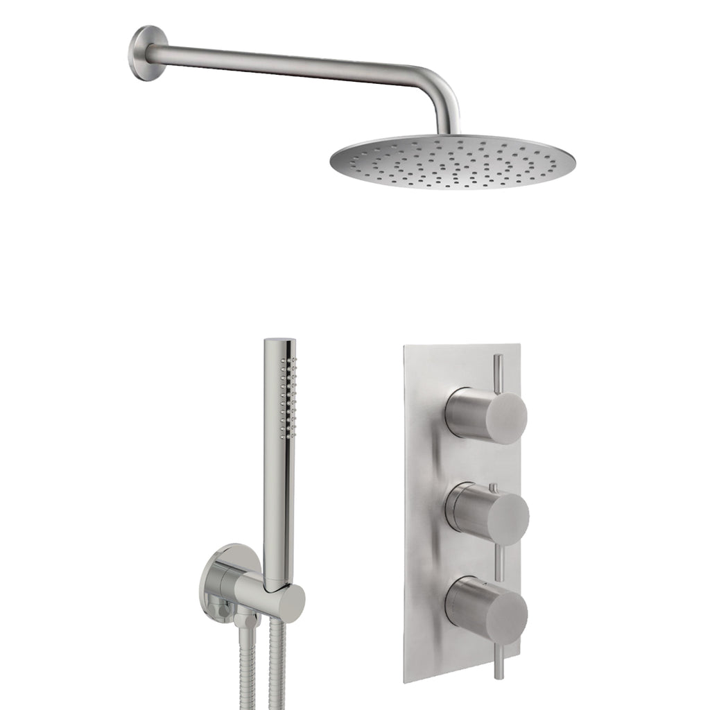 JTP Inox Concealed Single Function Thermostatic 3 Control Shower Valve, Handset & Head -