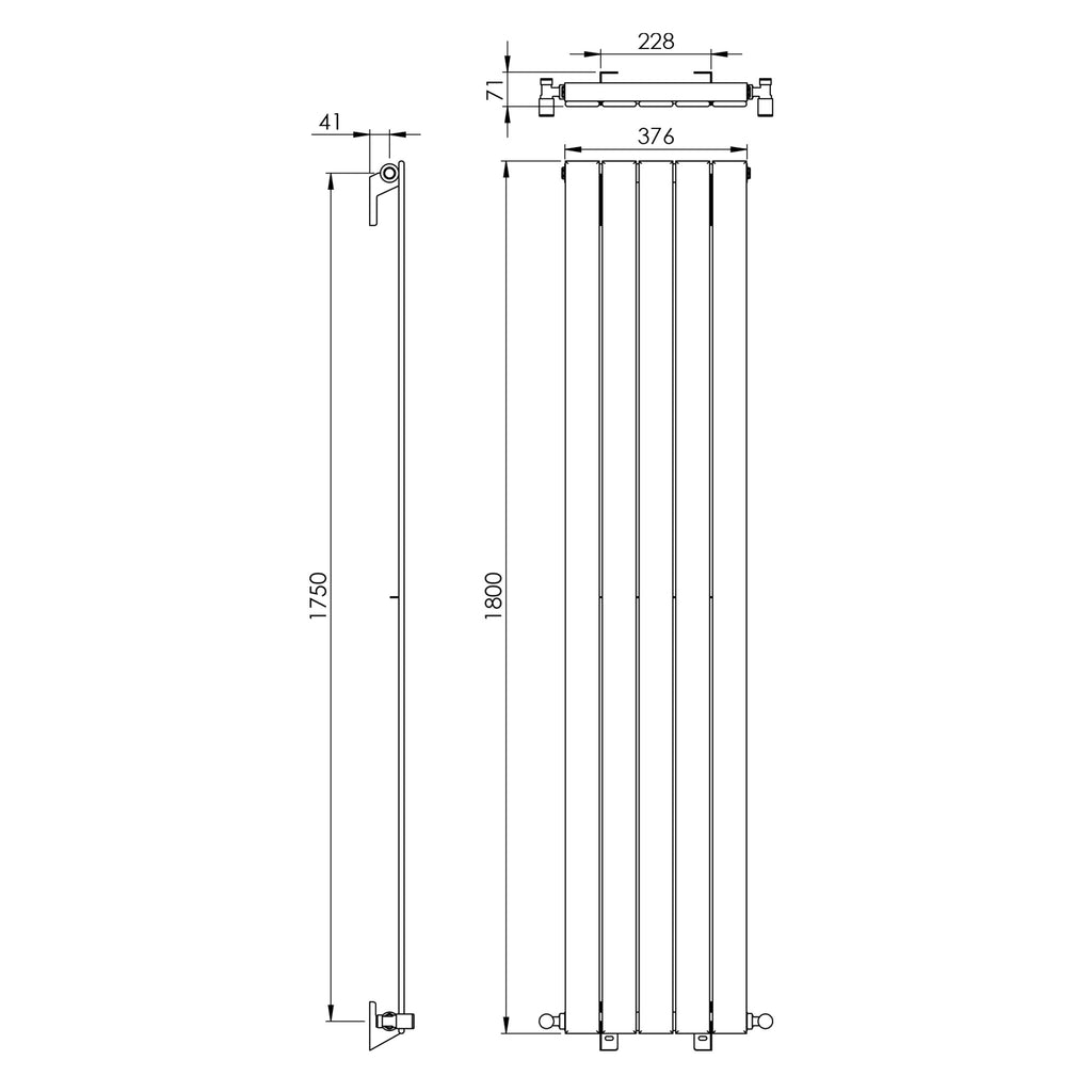 Vogue Fly Line Vertical Single Panel Wall Mounted Radiator -