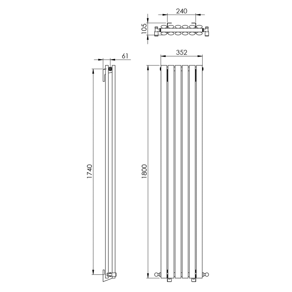 Vogue Lure Double Wall Mounted Radiator 352 x 1800mm -