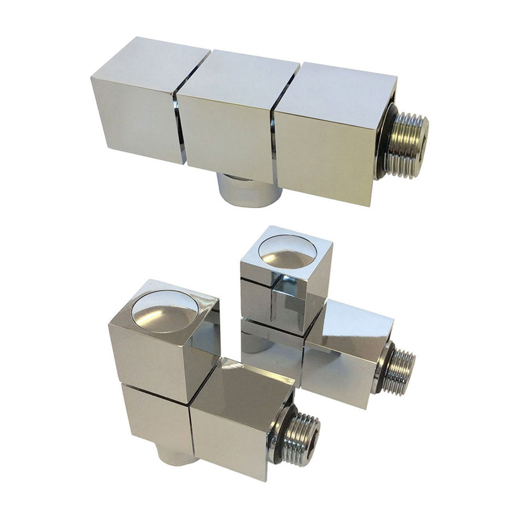 Radox Cube Angled Valve Wheelhead & Lockshield - Reversible - Chrome (Pair) -