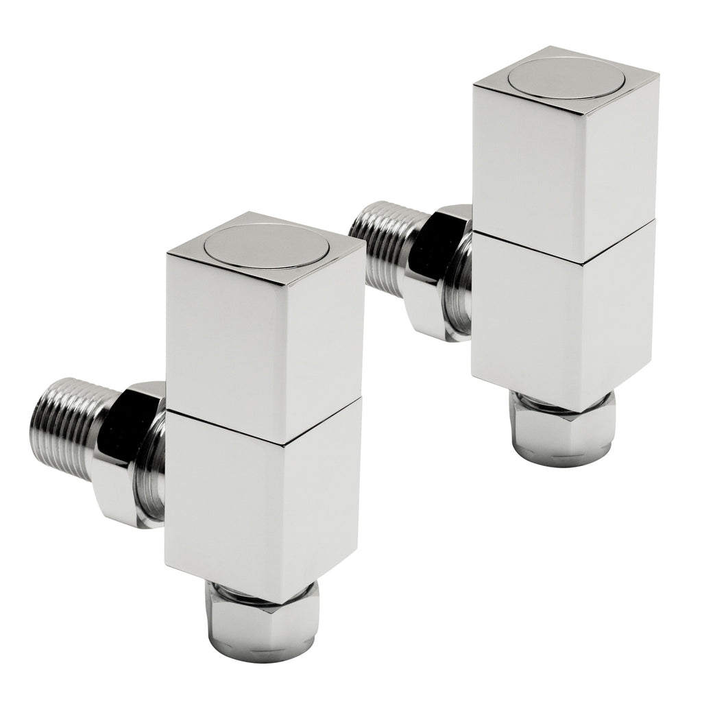 Radox Square Angled Valve Wheelhead & Lockshield - Chrome (Pair) -