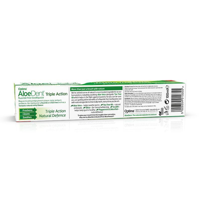 AloeDent® Triple Action Fluoride Free toothpaste 100ml