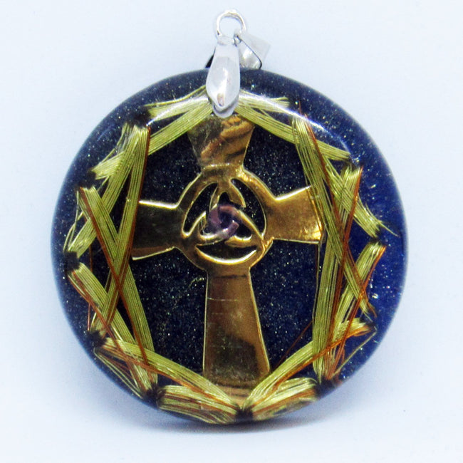 Celtic Cross with Triquet, Cobalt and Bronze Powder - Metayantra Consciencia