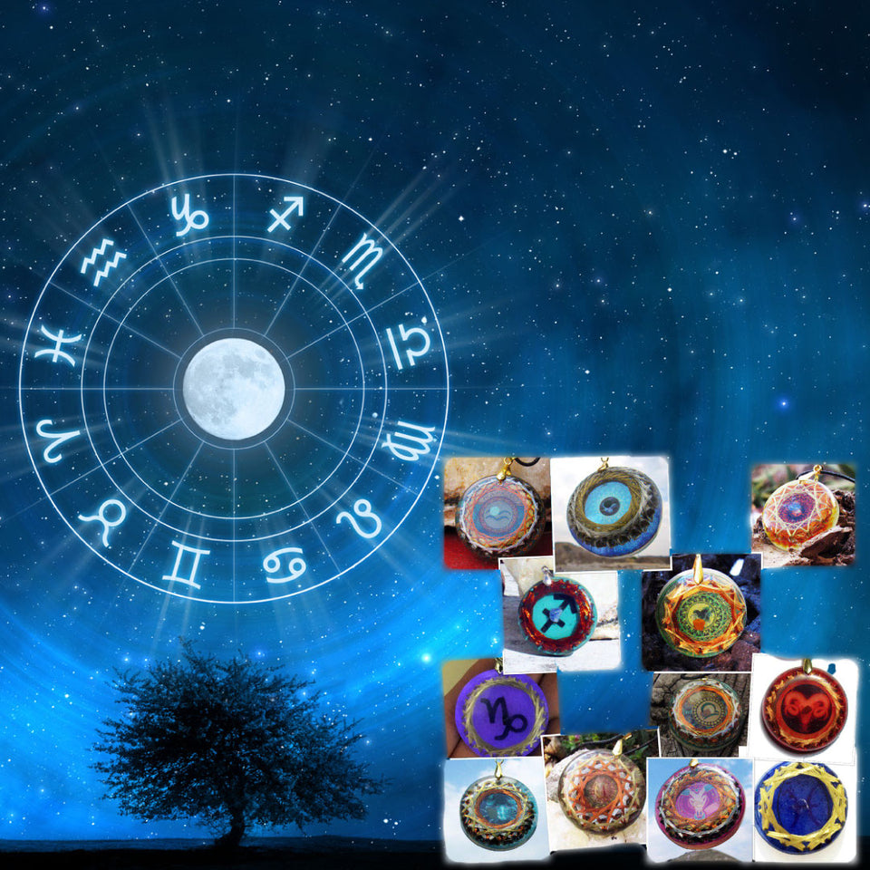 Natal Chart + Zodiac Sign Device with ascendant and solar quartz.
