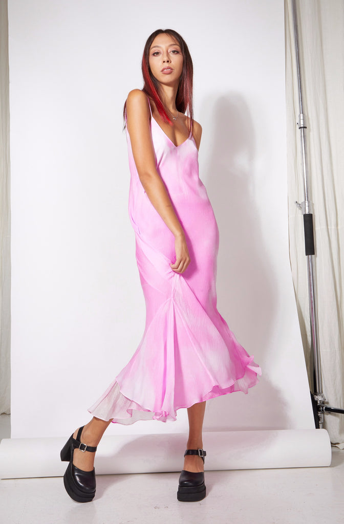 Godet Midi Slip Dress - Pink Tie Dye