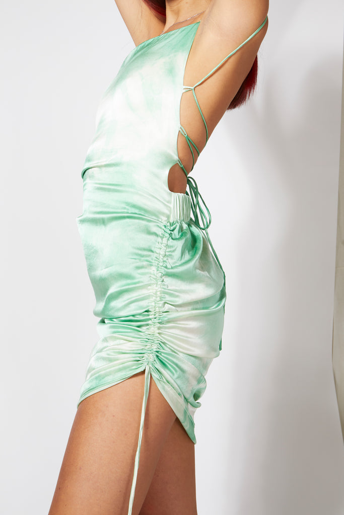 Aphrodite Cinch Dress - Green Tie Dye