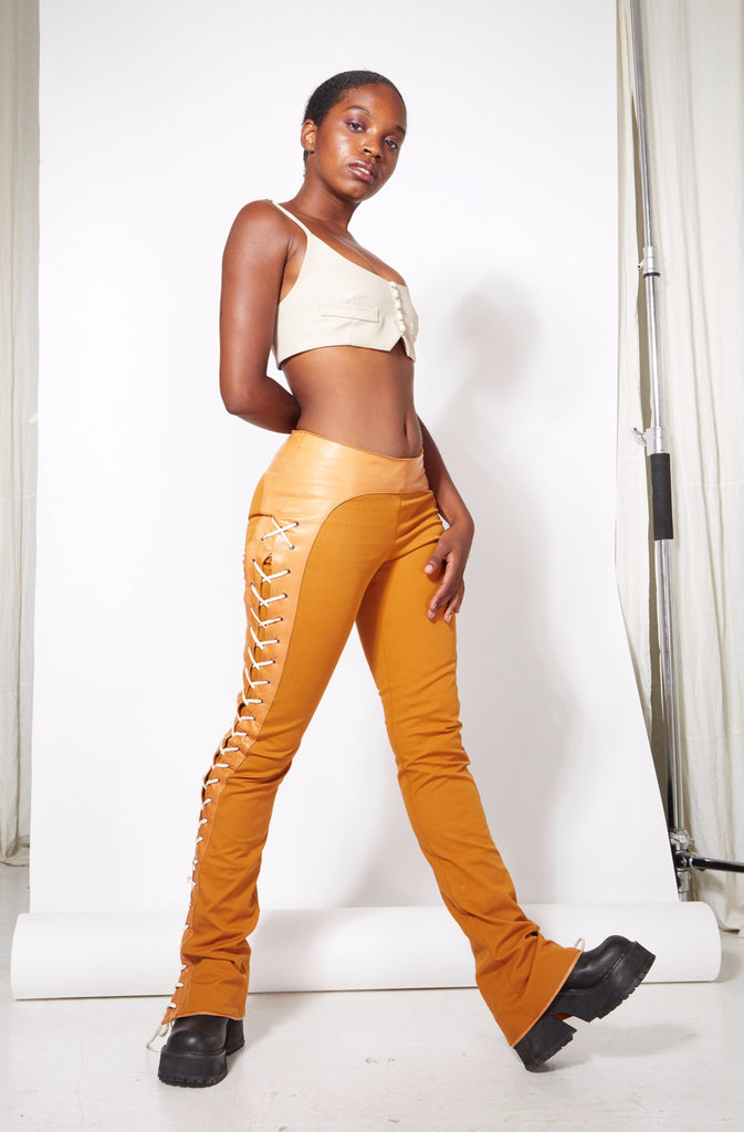 Lace Up Pant - Burnt Sienna