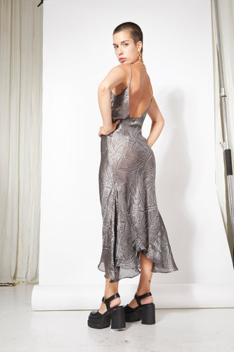 Godet Midi Slip Dress - Metallic Geometric Print