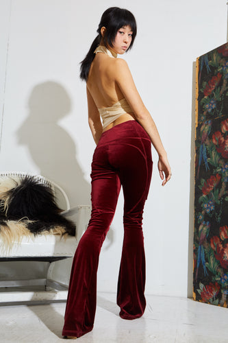 Patchwork Seam Flared Pant - Red Velvet