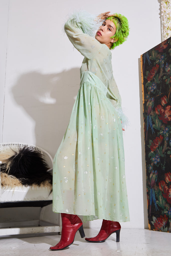 Feather Hostess Robe - Green