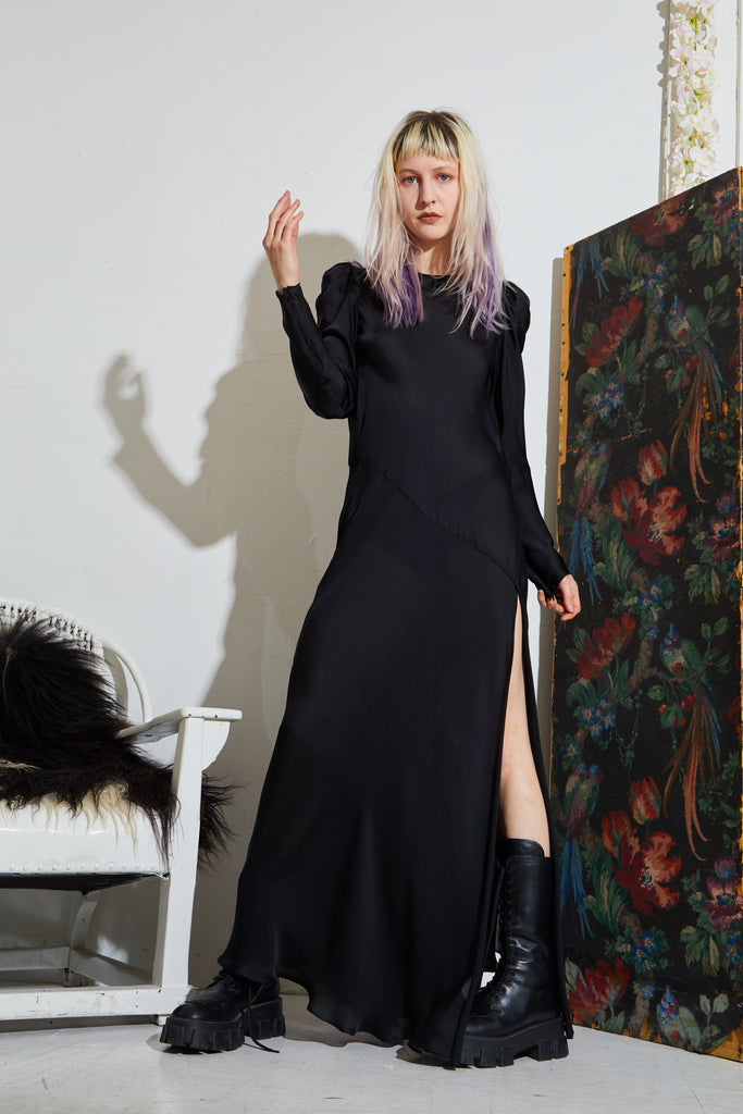 Long Sleeve Monk Dress - Black