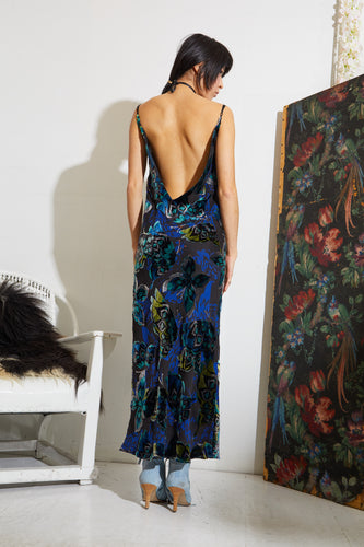 Haley Slip Dress - Blue Velvet Butterflies