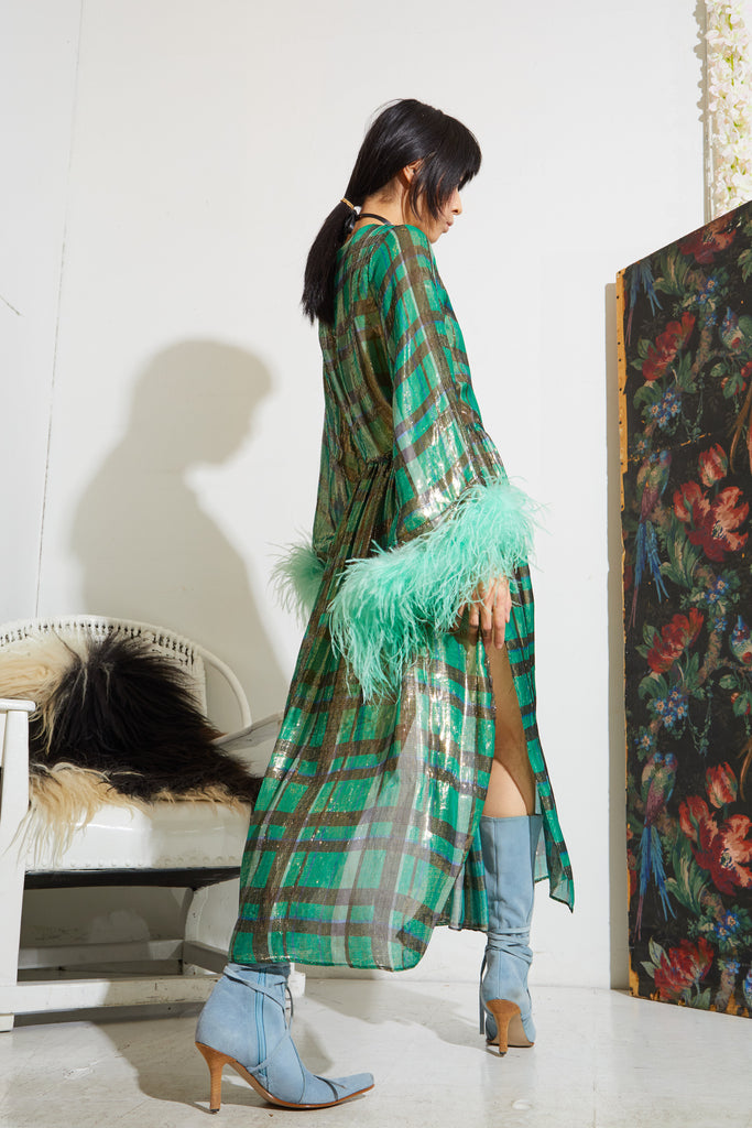 Feather Hostess Dress - Green Plaid