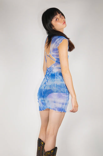 Bo Mesh Mini Dress - Blue Tie Dye