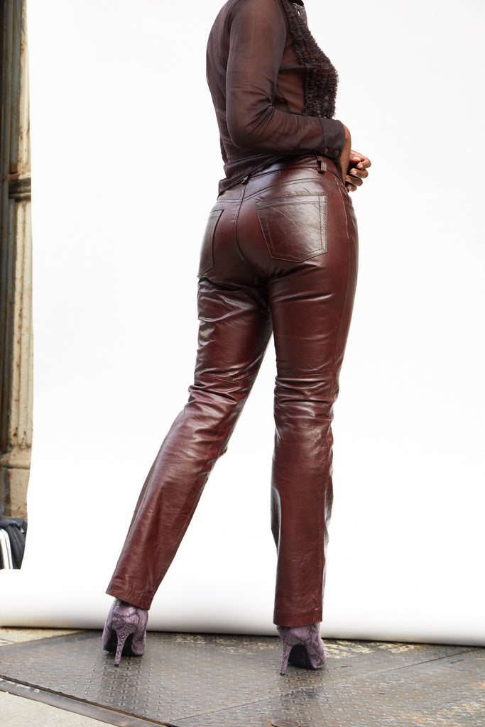 Brown Leather Jeans